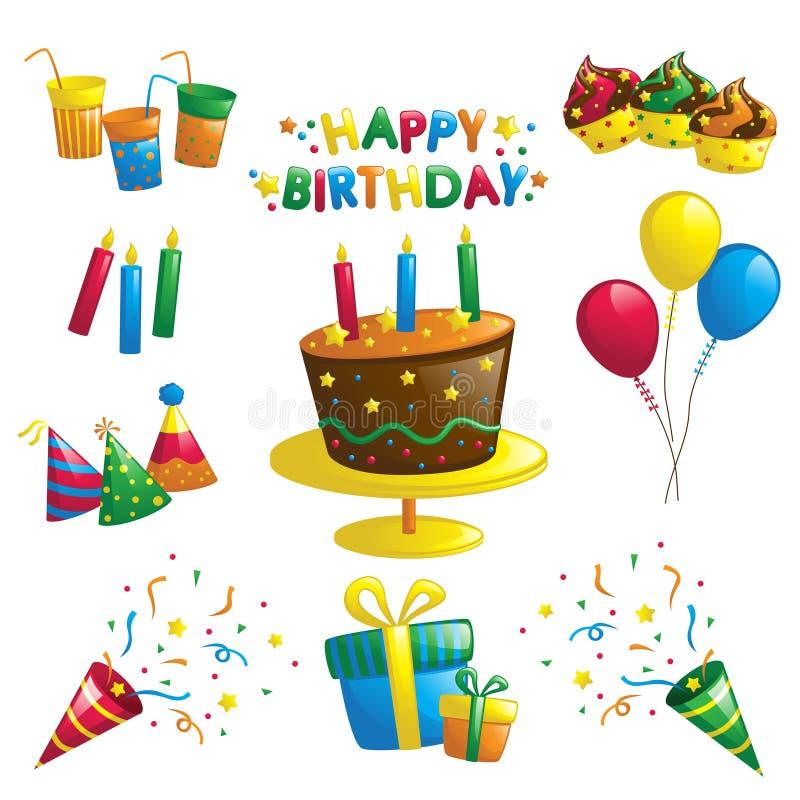 Iconos del cumpleaños ilustración del vector