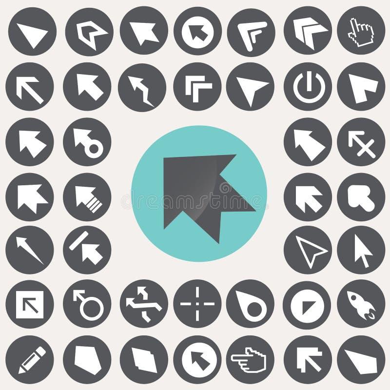 Iconos del cursor y del indicador fijados ilustración del vector