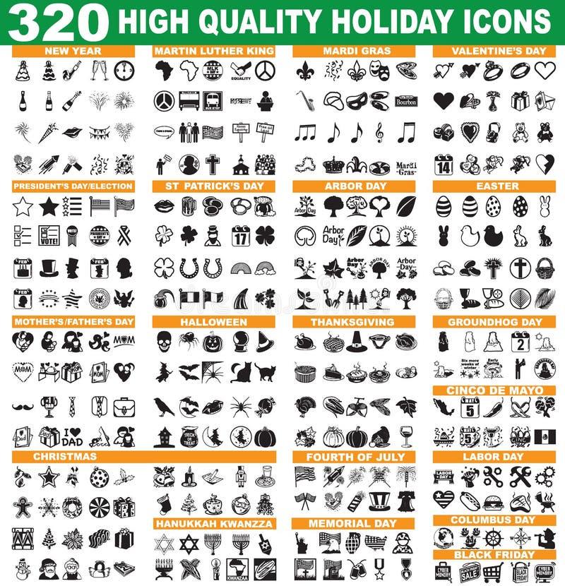 Iconos del día de fiesta ilustración del vector
