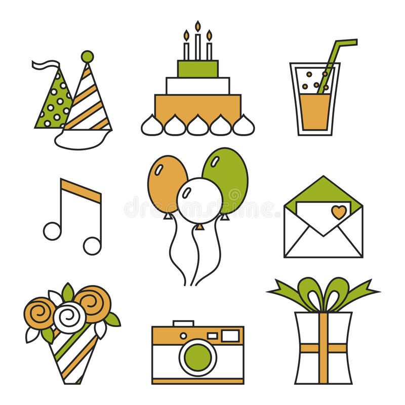 Iconos del día de fiesta, feliz cumpleaños, sistema Torta, globos, flores, regalo, y otros elementos festivos del diseño ilustración del vector