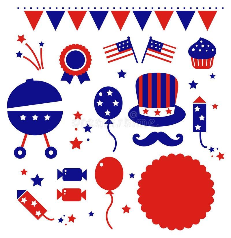 Iconos del Día de la Independencia aislados en blanco stock de ilustración