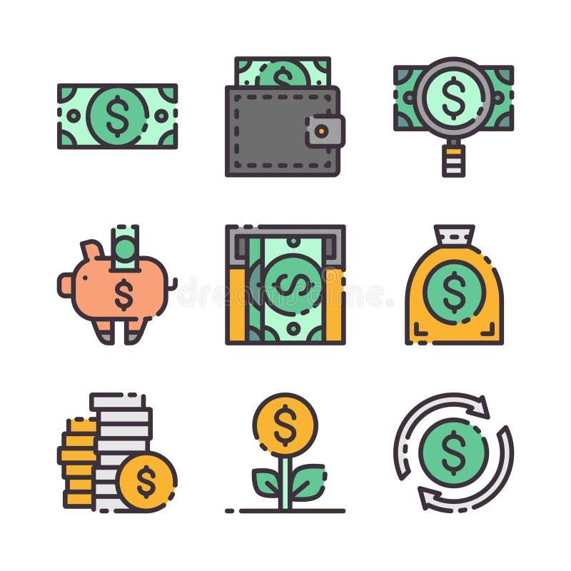 9 iconos del dólar del vector fijados El vector colorea iconos ilustración del vector