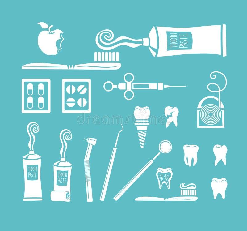 Iconos del dentista ilustración del vector