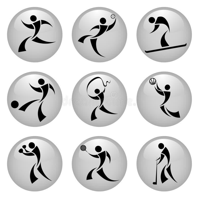 Iconos del deporte stock de ilustración