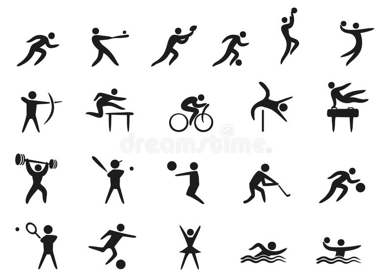 Fondo Con Iconos De Deporte: Iconos Del Deporte Ilustración Del Vector. Ilustración