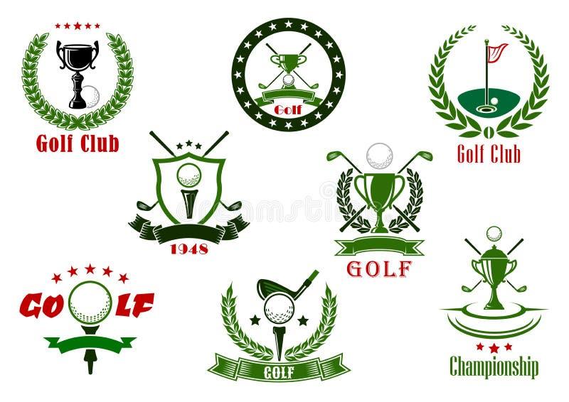 Iconos del deporte del club de golf y del torneo libre illustration