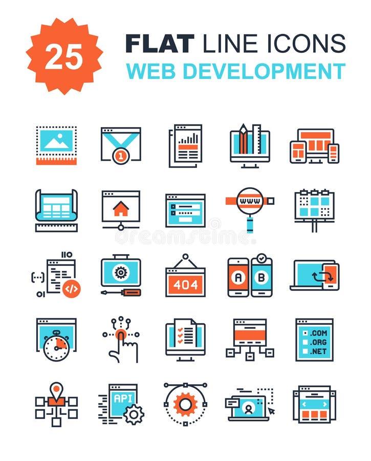 Iconos del desarrollo web stock de ilustración
