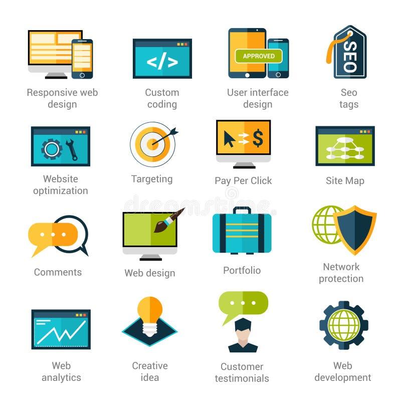 Iconos del desarrollo web fijados stock de ilustración