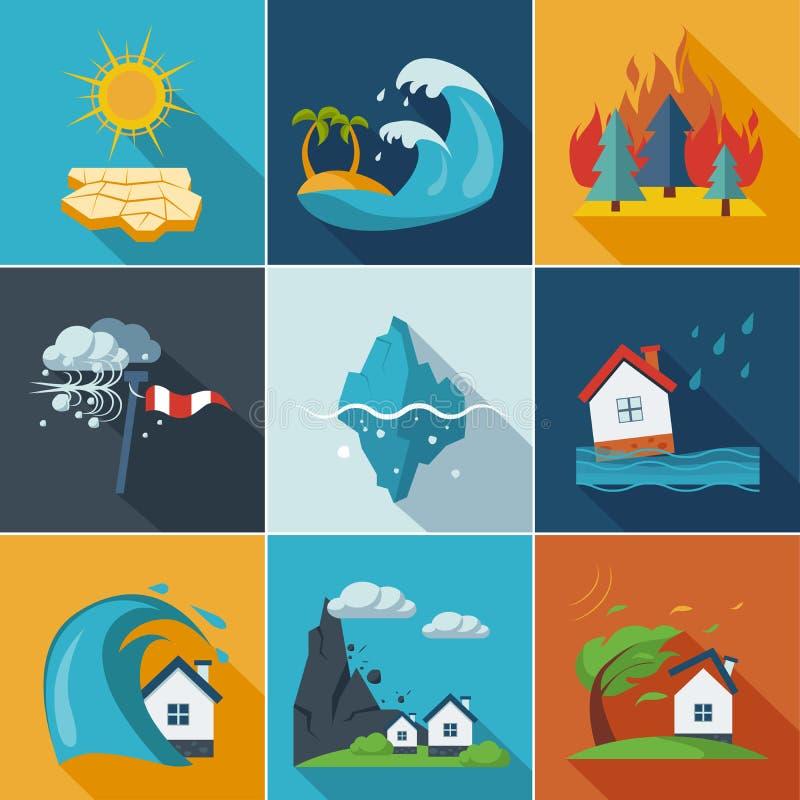 Iconos del desastre natural stock de ilustración