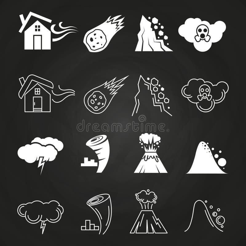 Iconos del desastre natural en la pizarra ilustración del vector