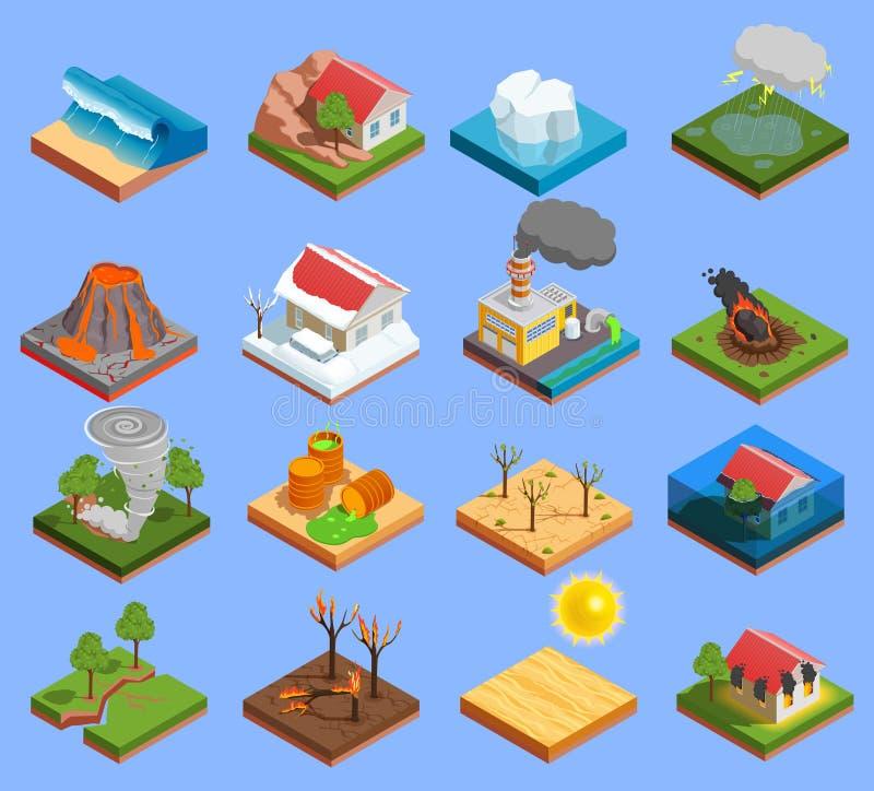 Iconos del desastre natural fijados stock de ilustración