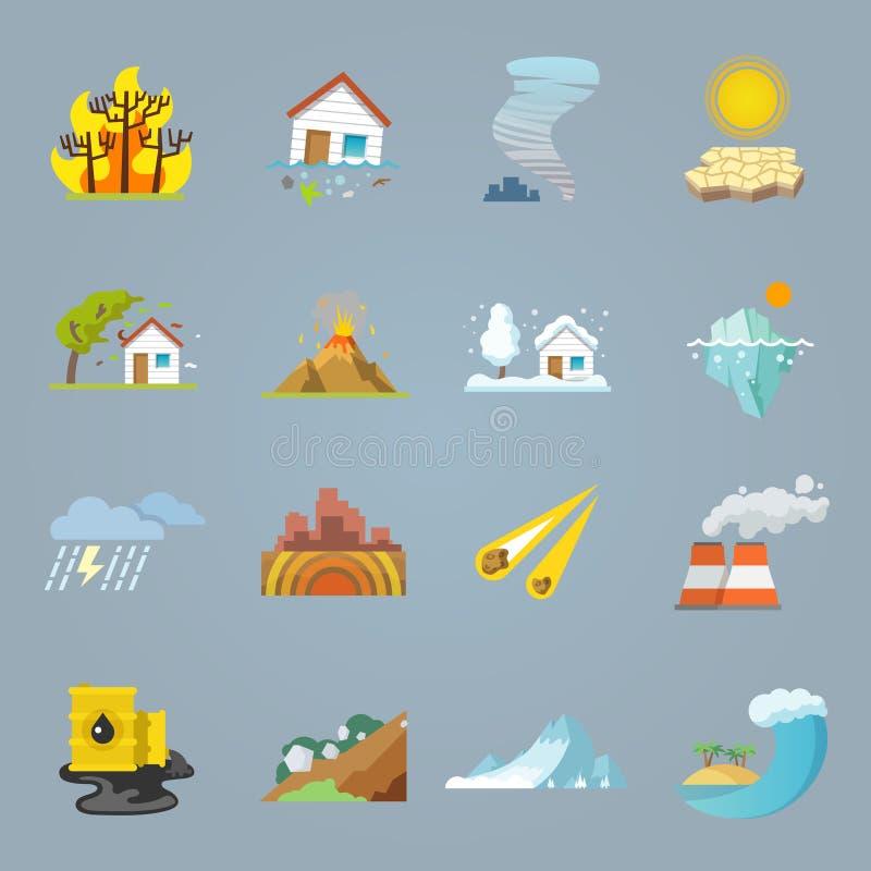 Iconos del desastre natural planos ilustración del vector
