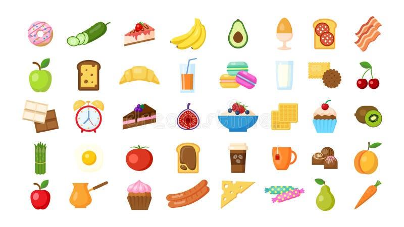 Iconos del desayuno fijados stock de ilustración