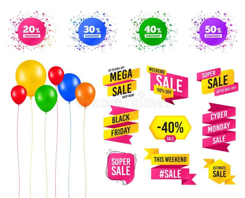 Iconos del descuento de la venta Muestras del precio de oferta especial Vector ilustración del vector