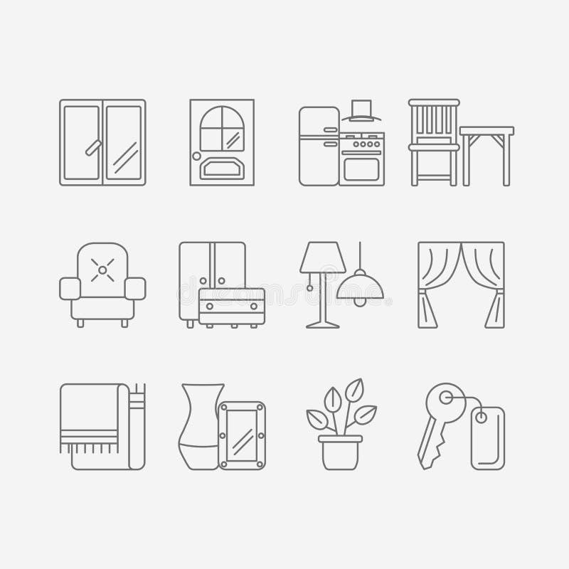 Iconos del desig de Interor aislados ilustración del vector