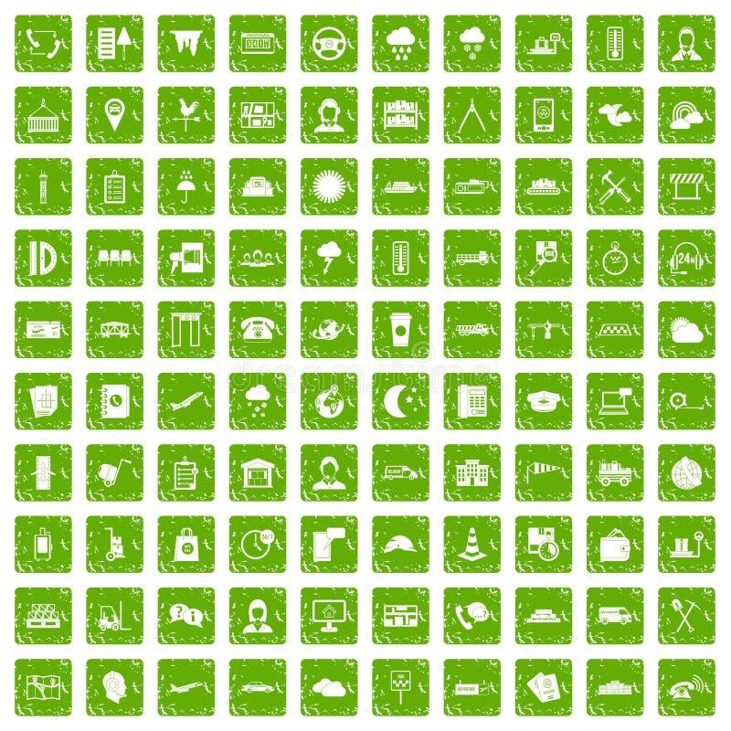 100 iconos del despachador fijaron verde del grunge libre illustration