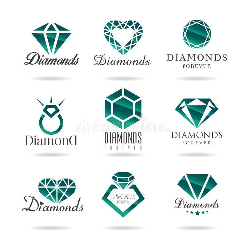 Iconos del diamante fijados ilustración del vector