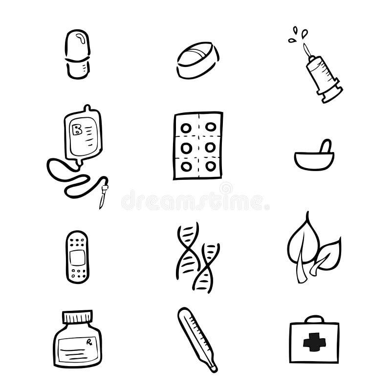 Iconos del dibujo del hospital de la medicina fijados ilustración del vector