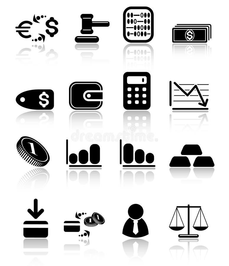 Iconos del dinero stock de ilustración