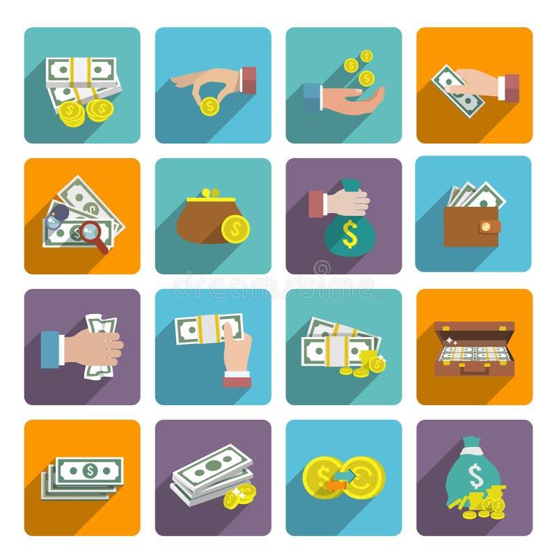 Iconos del dinero fijados stock de ilustración