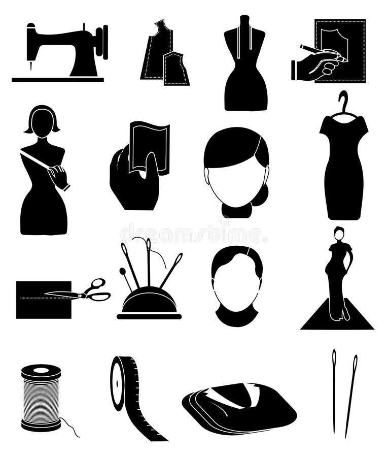 Iconos del diseñador de moda del sastre fijados stock de ilustración