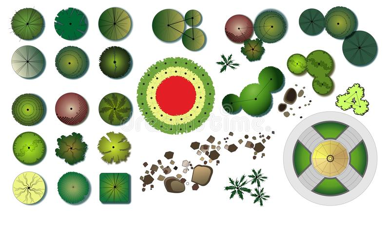 Iconos del diseño de los árboles del jardín stock de ilustración