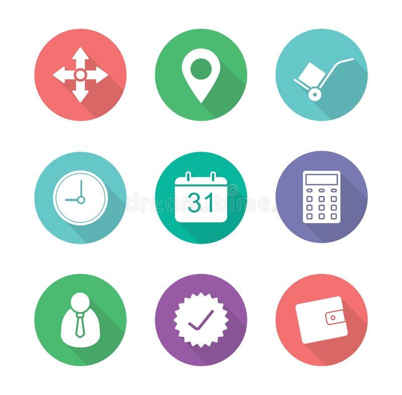 Iconos del diseño del plano de servicio de entrega fijados libre illustration
