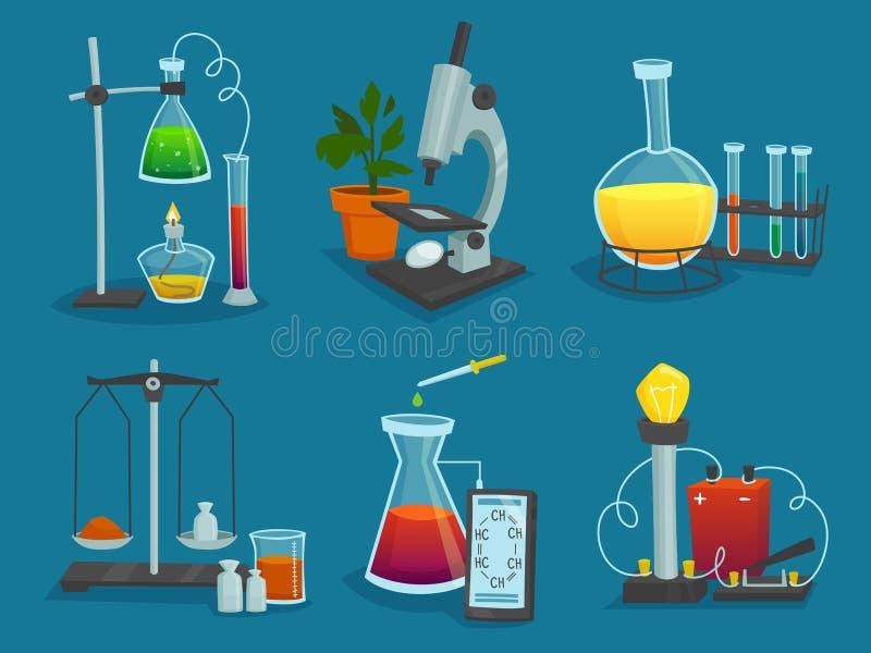 Iconos del diseño fijados del equipo de laboratorio ilustración del vector