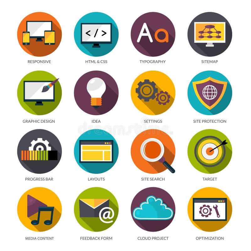 Iconos del diseño web fijados stock de ilustración