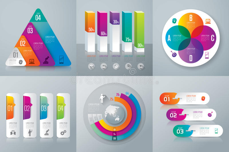 Iconos del diseño y del márketing de Infographic ilustración del vector
