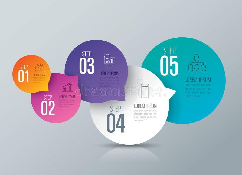 Iconos del diseño y del negocio de Infographic con 5 opciones libre illustration