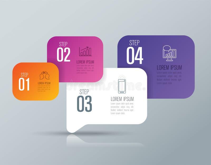 Iconos del diseño y del negocio de Infographic con 4 opciones ilustración del vector