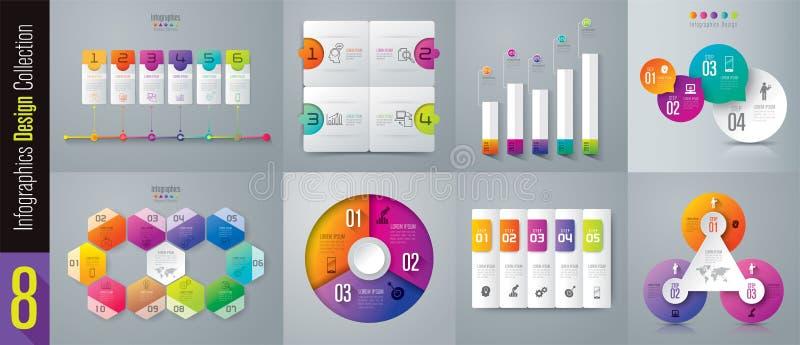 Iconos del diseño y del negocio de Infographic con 3, 4, 5, 6, 10 opciones libre illustration