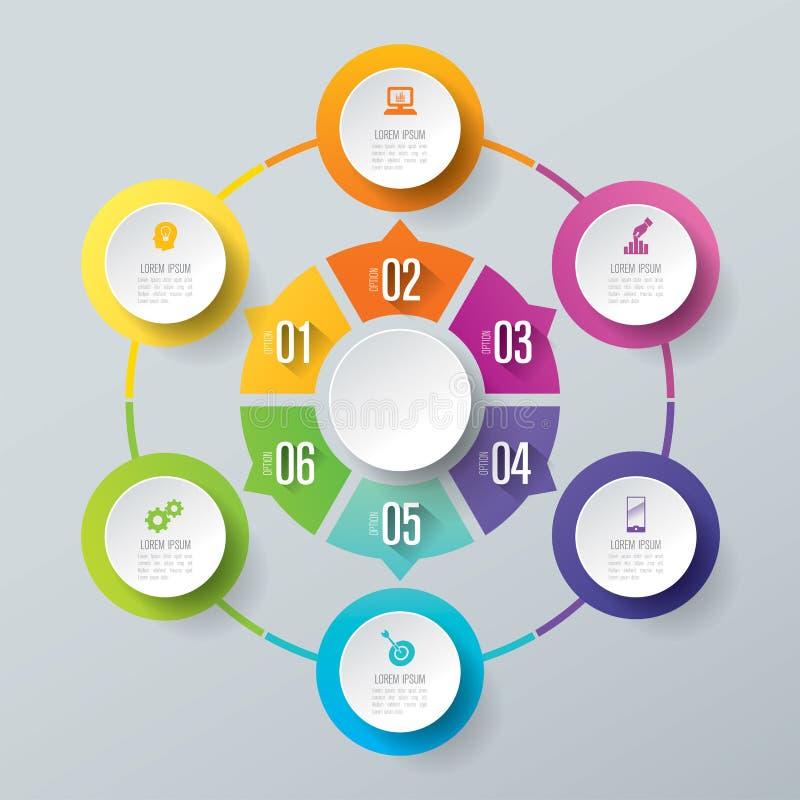 Iconos del diseño y del negocio de Infographic con 6 opciones libre illustration