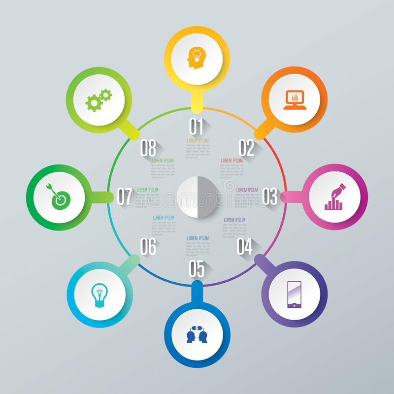 Iconos del diseño y del negocio de Infographic con 8 opciones ilustración del vector