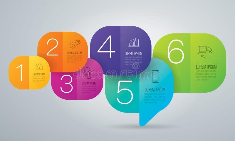 Iconos del diseño y del negocio de Infographic con 6 opciones ilustración del vector