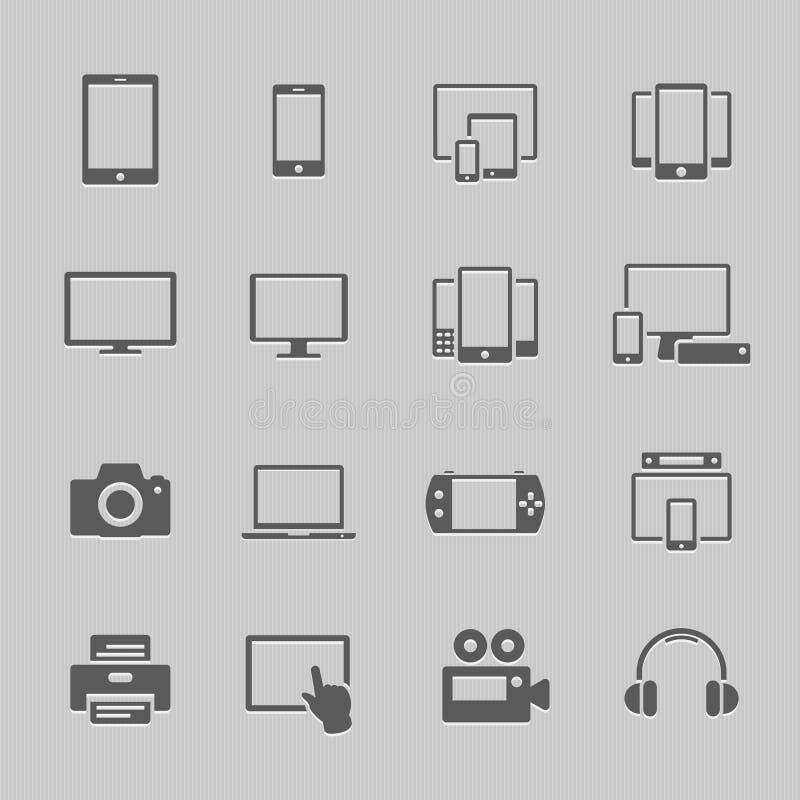Iconos del dispositivo de comunicación ilustración del vector