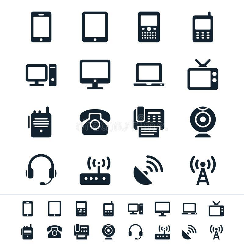 Iconos del dispositivo de comunicación stock de ilustración