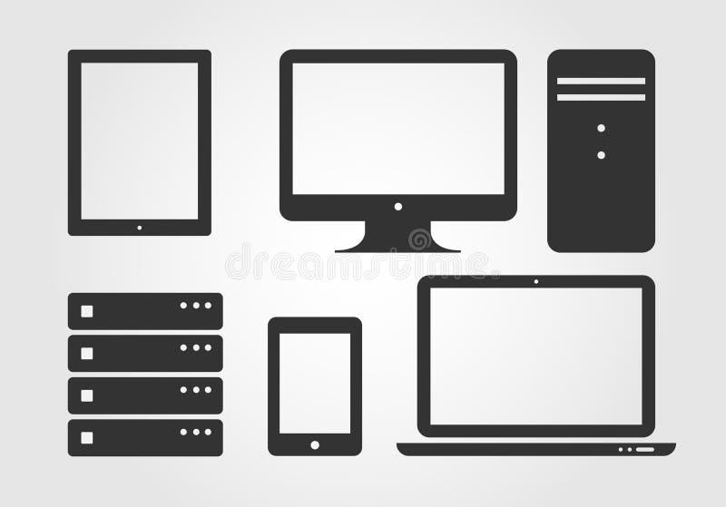 Iconos del dispositivo electrónico, diseño plano libre illustration