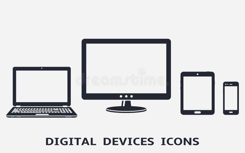 Iconos del dispositivo fijados: teléfono, tableta, ordenador portátil y monitor de computadora elegantes libre illustration
