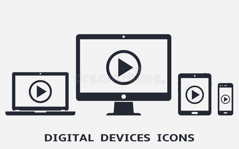 Iconos del dispositivo: teléfono, tableta, ordenador portátil y equipo de escritorio elegantes con el botón de reproducción en la libre illustration