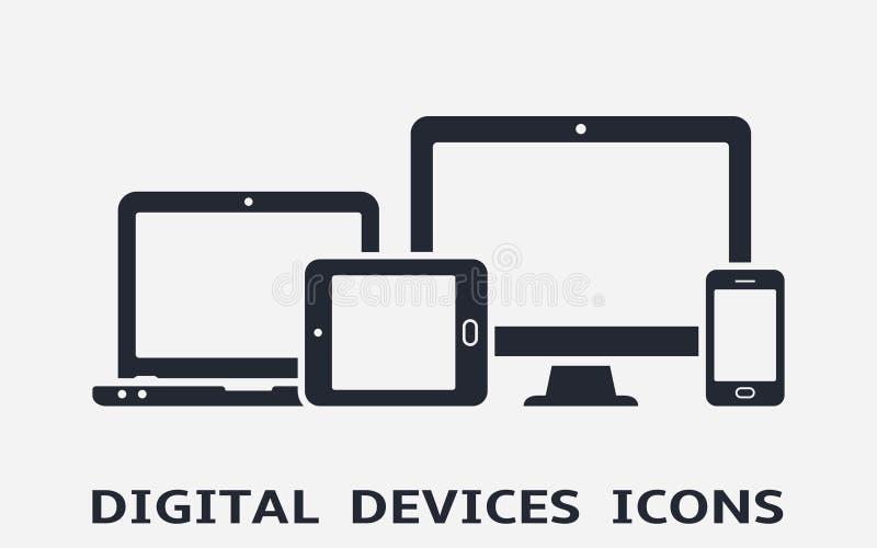 Iconos del dispositivo: teléfono, tableta, ordenador portátil y equipo de escritorio elegantes Diseño web responsivo stock de ilustración
