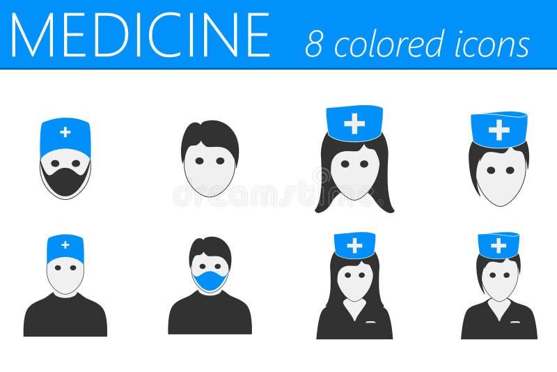 Iconos del doctor y de las enfermeras fijados libre illustration