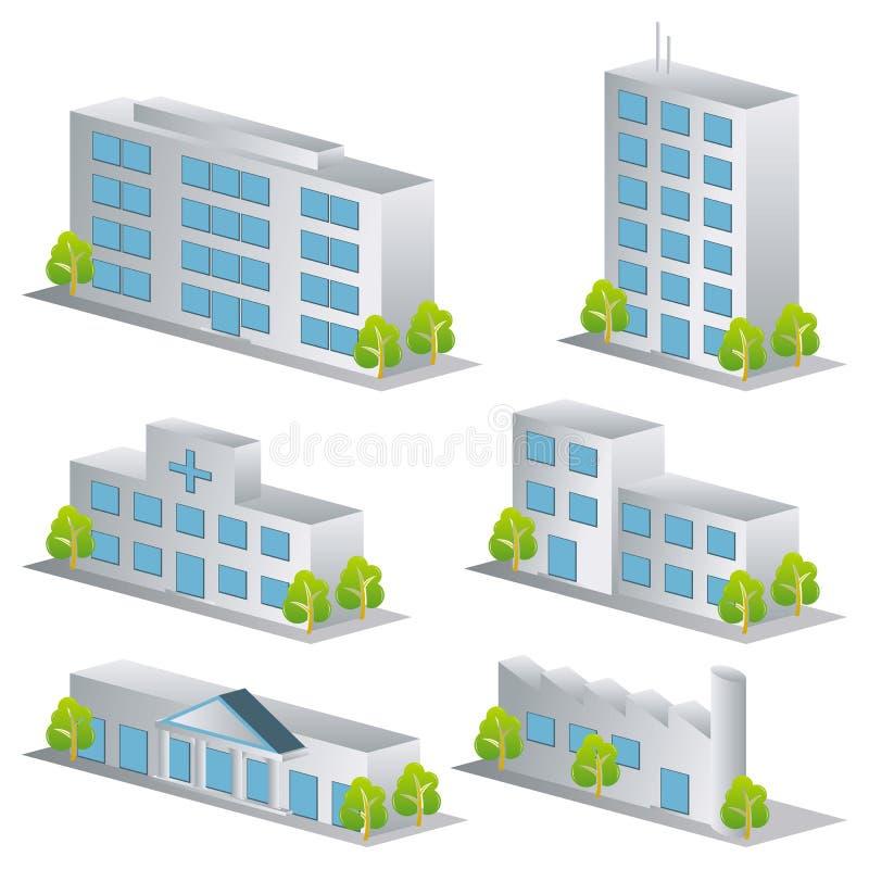 iconos del edificio 3d fijados stock de ilustración