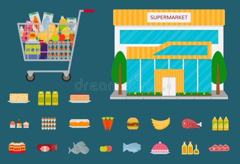 Iconos del edificio, del carro de la compra y de la comida del supermercado libre illustration