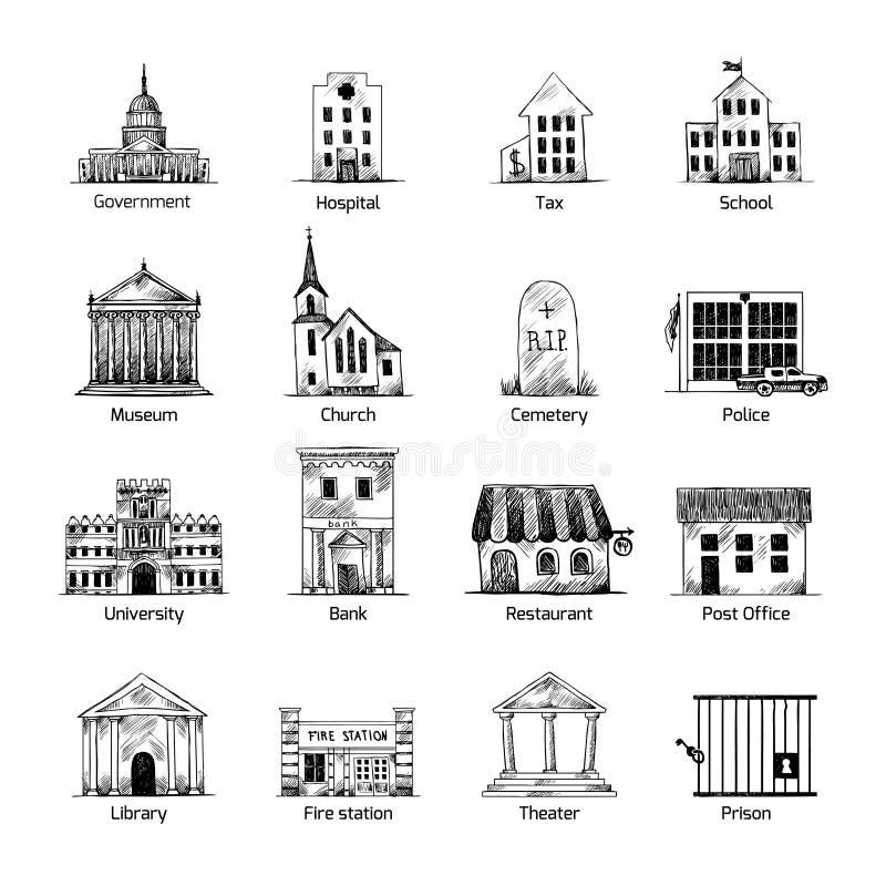 Iconos del edificio del gobierno fijados ilustración del vector