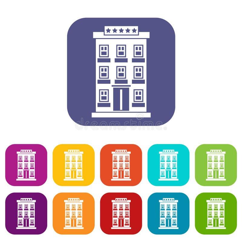 Iconos del edificio del hotel fijados libre illustration
