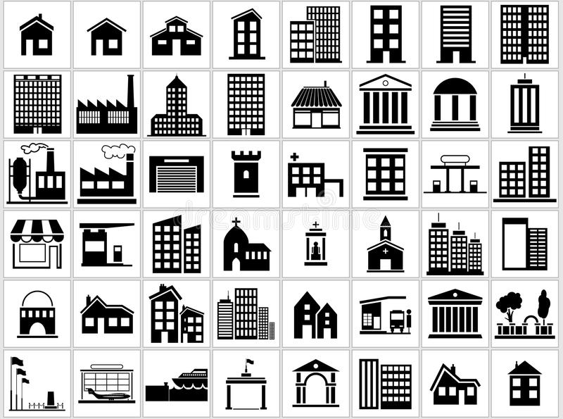 Iconos del edificio fijados stock de ilustración