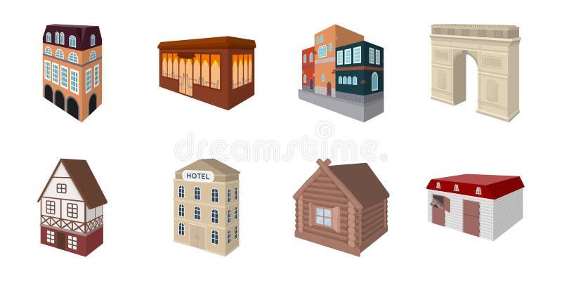 Iconos del edificio y de la arquitectura en la colección del sistema para el diseño El edificio y la vivienda vector el web isomé ilustración del vector