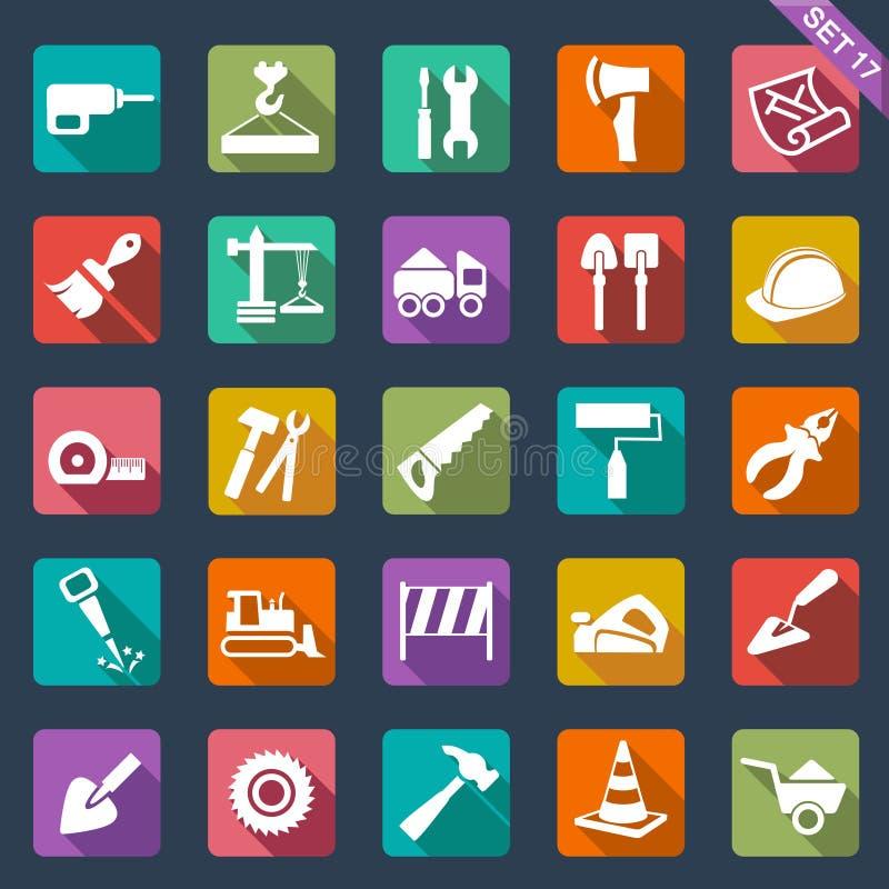 Iconos del edificio y de las herramientas libre illustration